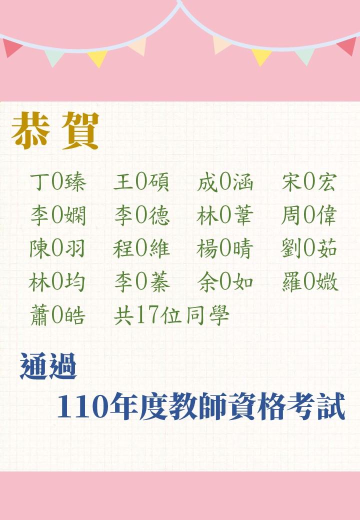 恭賀本系17位同學,通過「110年度教師資格考試」